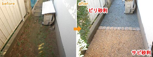 防草シート&砂利で雑草対策・雑草除去